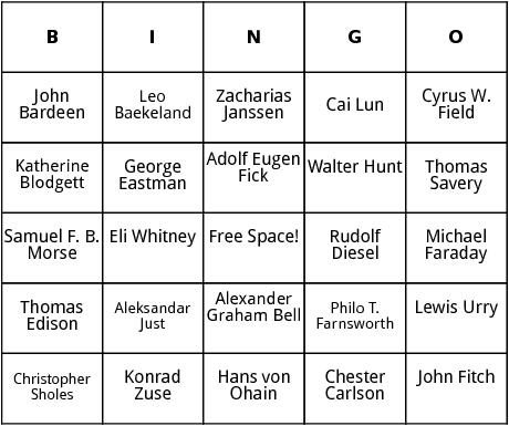 inventors bingo