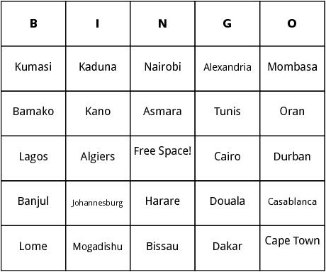 african cities bingo