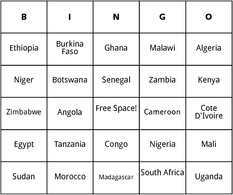 african countries bingo