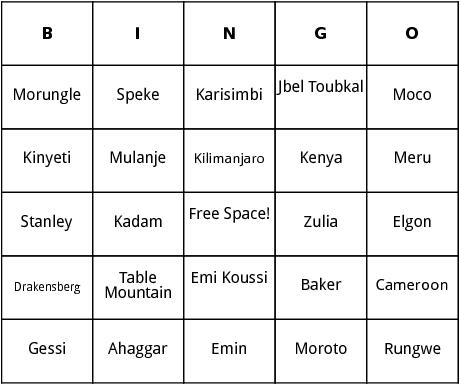 african mountains bingo