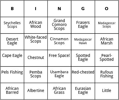 african owls bingo