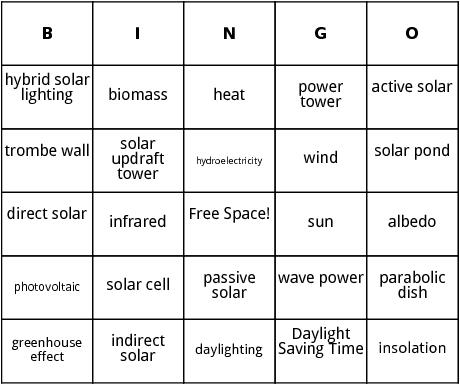 alternative power bingo