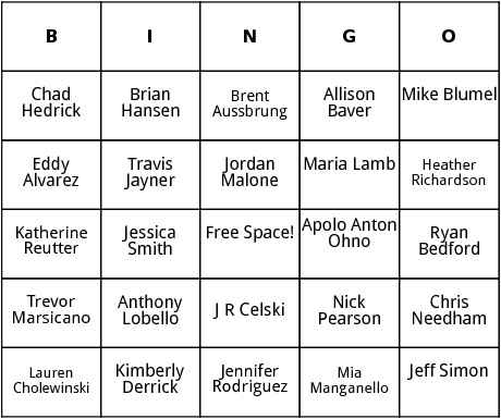 american speed skaters bingo