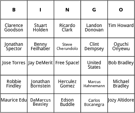 american world cup players bingo