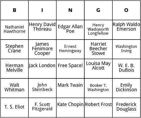 american writers  bingo