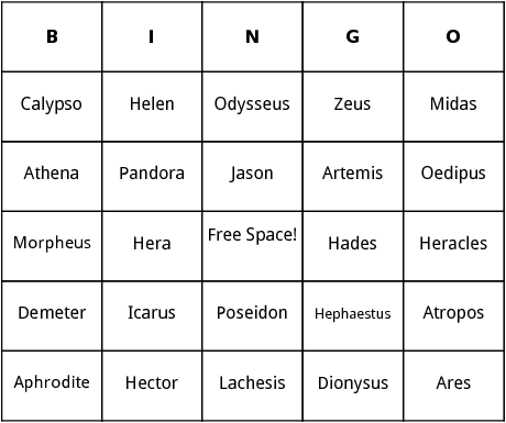 Ancient Greek Mythology bingo by Bingo Card Template