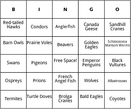 animals that mate for life bingo