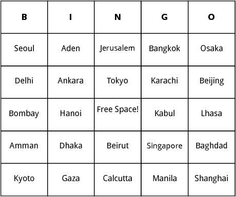Asian cities bingo by bingo card template asian cities bingo maxwellsz