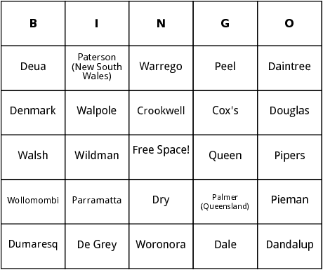 austrailan rivers bingo