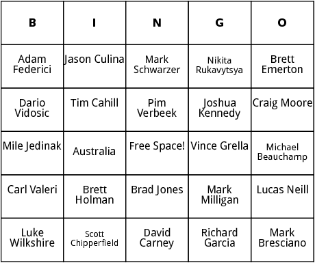 australian world cup players bingo