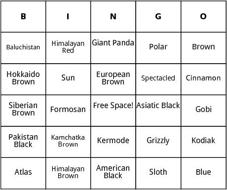 bears bingo