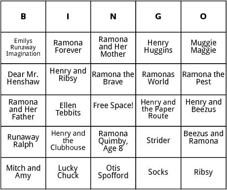 beverly cleary books bingo