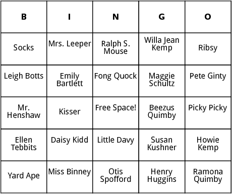beverly cleary characters bingo