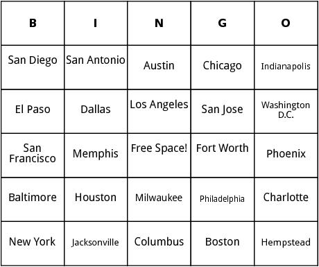 biggest u.s. cities bingo