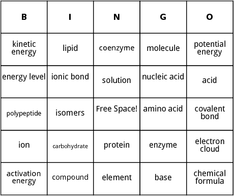 biology vocabulary bingo