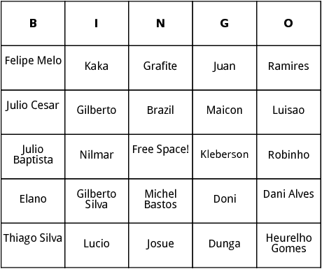 brazilian world cup players  bingo