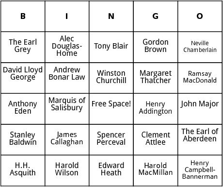 bristish prime ministers bingo
