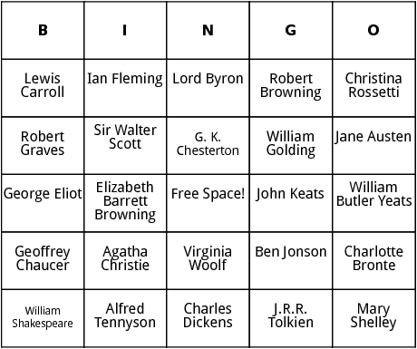 british authors  bingo