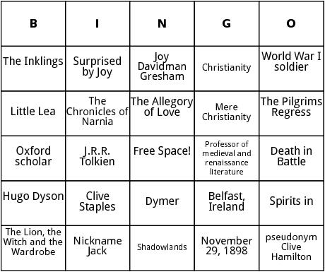 c.s. lewis bingo