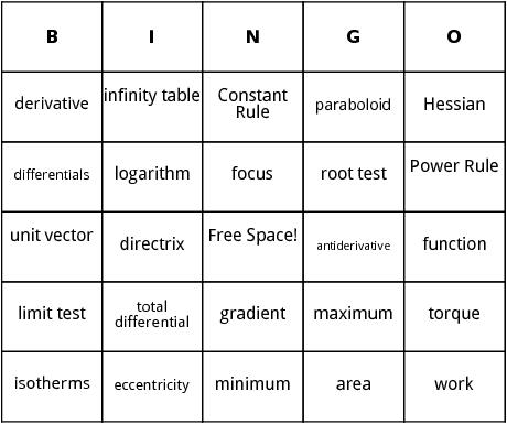 calculus bingo