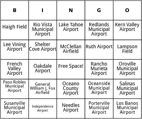 California Airports Bingo By Bingo Card Template - Airports in california