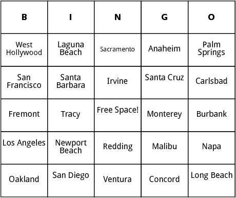 california cities bingo