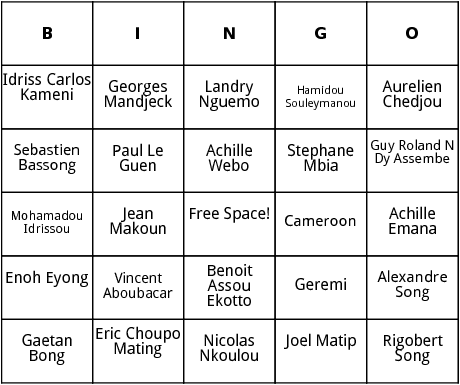 cameroonian world cup players bingo