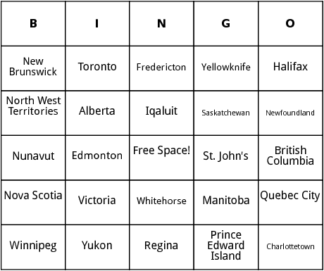 canadian provinces bingo
