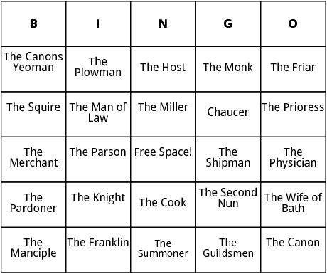 canterbury tales characters bingo