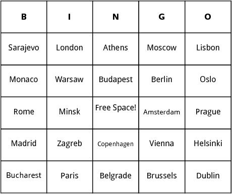 capitals of europe bingo