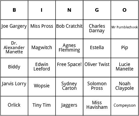 charles dickens characters bingo