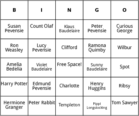 childrens literature characters bingo
