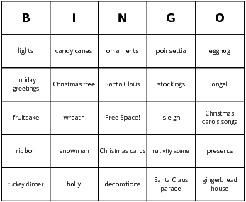 christmas bingo by Bingo Card Template