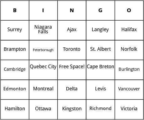 cities in canda bingo