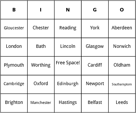 cities of the united kingdom bingo