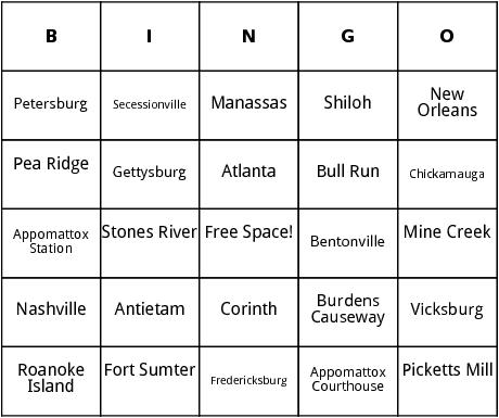 civil war battles bingo