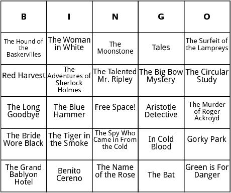 classic mysteries bingo