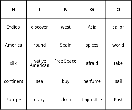 columbus day bingo
