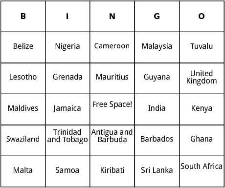 commonwealth of nations bingo