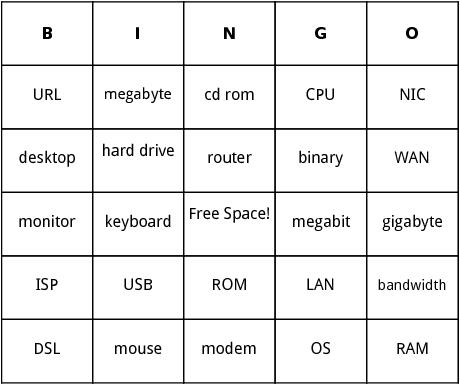 computer terminology bingo