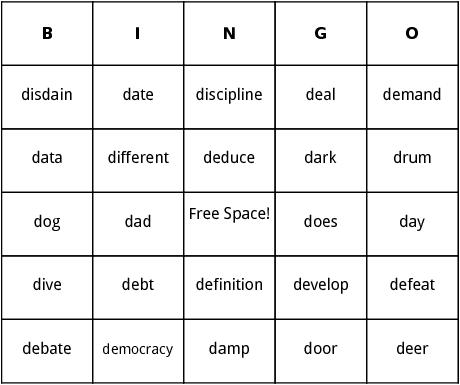 d words bingo