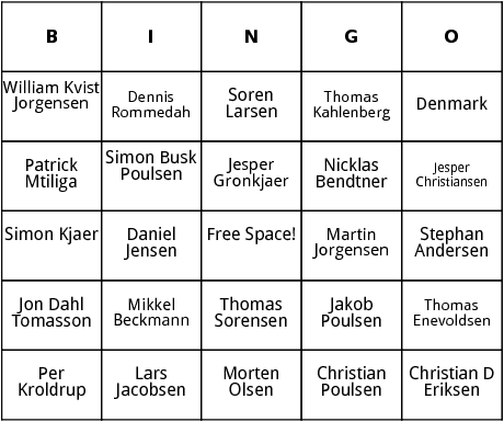 danish world cup players bingo