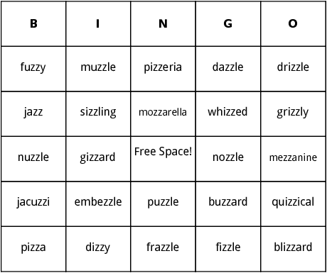 double z words bingo