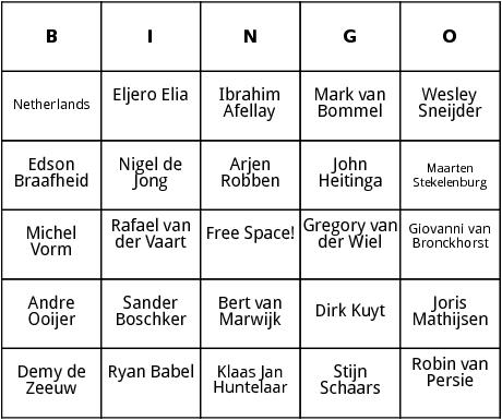 dutch world cup players bingo