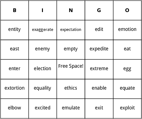e words bingo