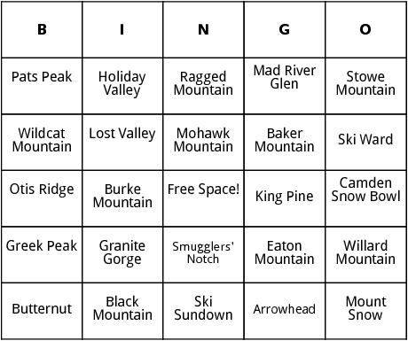 east coast ski resorts bingo