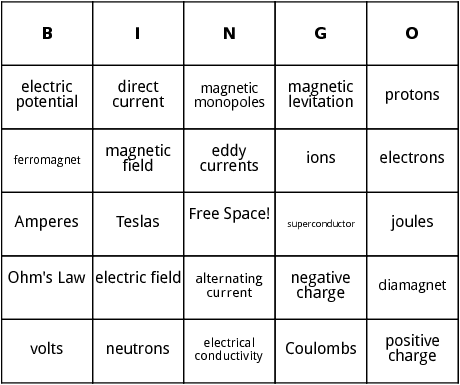 electricity and magnetism bingo