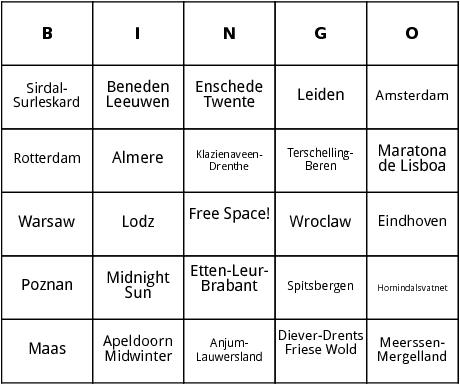 european marathons  5 bingo