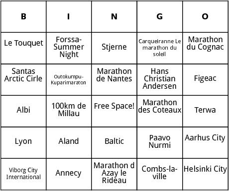 european marathons 2 bingo