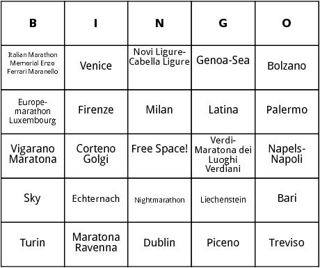 european marathons 4 bingo